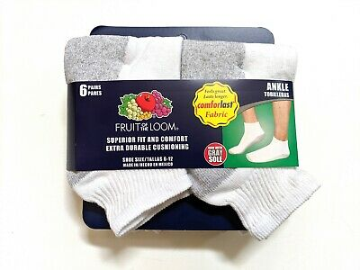 Fruit of The Loom Mens Cushion Ankle Socks Shoe Size 6-12 Large White 6-Pair