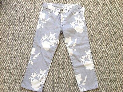 NEW NWT Gap kids blue striped floral print Capri Stretch Pants 12 regular