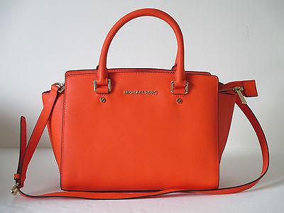 fd546aca5611 ... New Michael Kors Selma Clementine Leather Medium Satchel Handbag  30S3GLMS2L ...