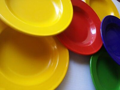 7 Mid Century MODERN ENAMELWARE METAL BOWLS MADE in HOLLAND BLUE YELLOW GREENRED