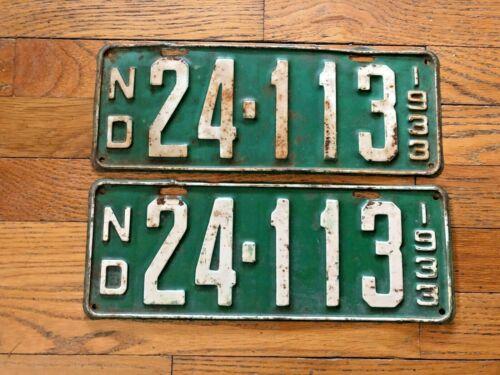 Pair of 1933 North Dakota License Plates