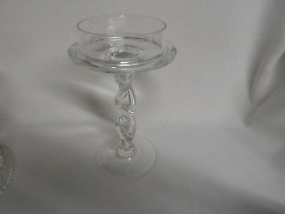 vintage clear elegant glass candle holder with twisted glass stem