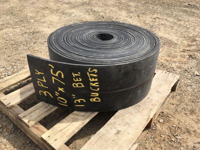 "Bucket Elevator Conveyor Belt 3 Ply Black 10"" x 75ft pre-drilled"