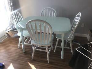 Handpainted solid wood table and chairs