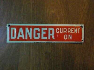 Vintage 1920s DANGER Tin Sign ALLEN & VAN DYKE BROOKLYN NY Excellent Condition!!