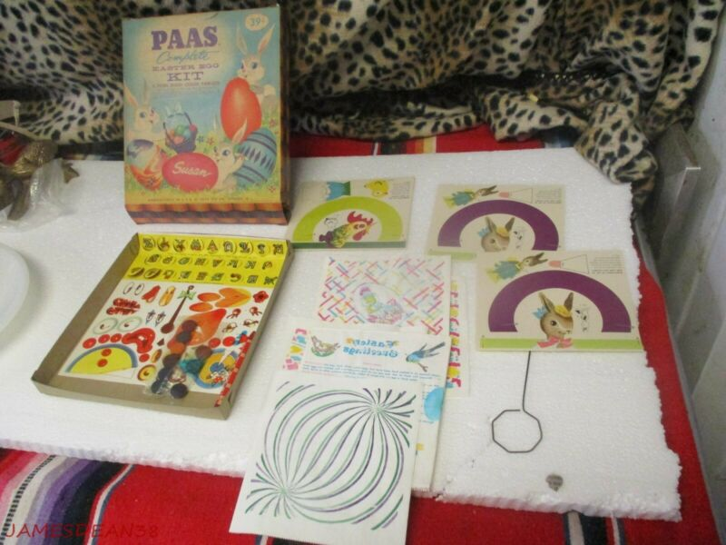 1 NOS Vintage PAAS Easter Egg KIT color tablets transfers CALICO PAPERS 50S 60S