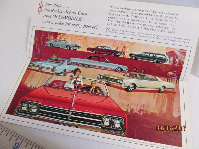 1965 Oldsmobile Dealership Pocket Sales Brochure Cutlass 442 F-85 Starfire 88 98