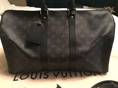 LOUIS VUITTON LV Keepall 45 Bandouliere Monogram Eclipse Duffle Bag Luggage