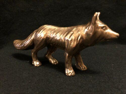 """Vintage Mid Century Fox Figurine, Brass Fox Ornament 8"""" L x 2"""" W x 4"""" T"""