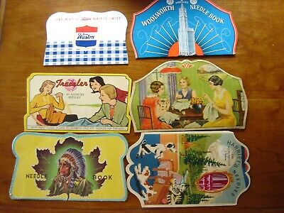 LOT OF 6 VINTAGE SEWING NEEDLE BOOKS ADVERTISING WOOLWORTHS HARRIET'S