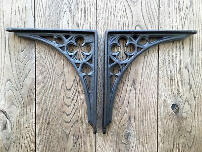 Pair of Gothic Revival cast iron shelf brackets wall bracket shelving NG1