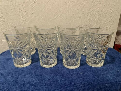 """Anchor Hocking 8 Vintage EAPC Star of David Clear Flared 8oz Tumblers 4.5"""""""