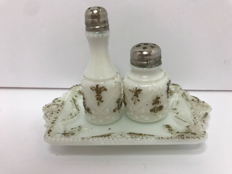 Antique Victorian Milk Glass Shakers With Tray Gold Ornate