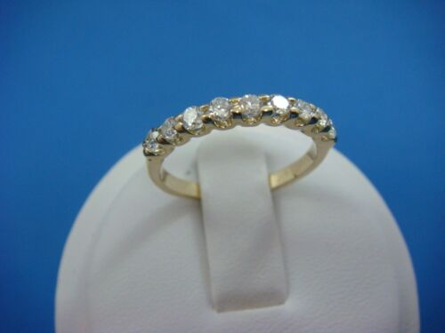 NICE 14K YELLOW GOLD 0.45 CT T.W. LADIES 2.25 MM WIDE THIN WEDDING BAND SIZE 6.5
