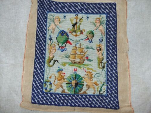 Vintage Needlepoint With Ship, Balloons, Lions, Mermaids and Cherubs