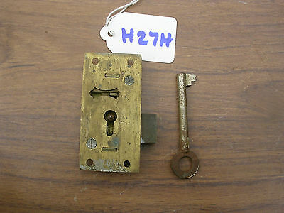 ANTIQUE BRASS CABINET LOCK & KEY