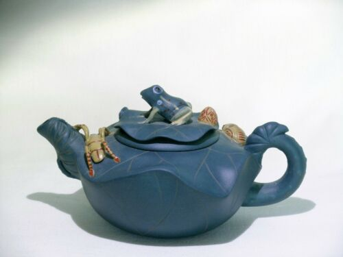Chinese Blue Yixing Pottery Frog, Insects & Lotus Teapot, Signed Jiang Rong 2001