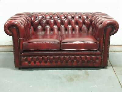 TRADTITIONAL OX BLOOD LEATHER 2 SEATER CHESTERFIELD SOFA