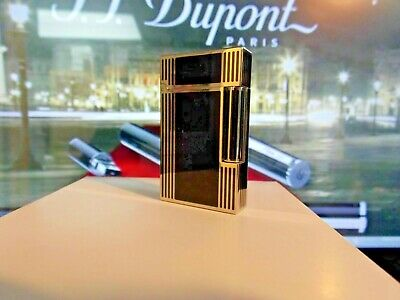 ST Dupont Ligne Line 2 Lighter Palladium & Black Chinese Lacquer Windsor  Black Chinese Lacquer Lighter