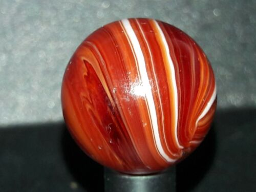 Christensen Agate CAC Striped Transparent Marble is Old Rare & AWESOME ruby Red