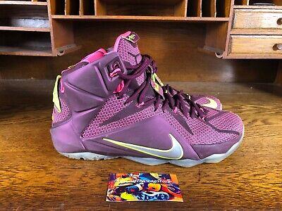 various colors 8866e 5a4e1 Nike Lebron XII 12 DOUBLE HELIX Merlot Volt Pink 684593 607 Mens Shoes Size  11