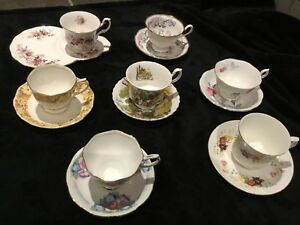 7 Royal Albert Antique Teacups and Saucers
