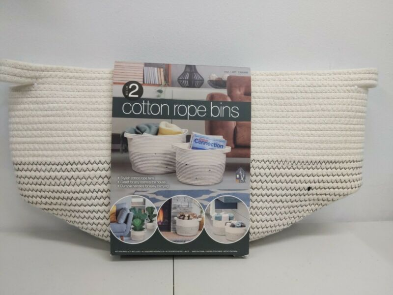 """Mesa Cotton Rope Bins, Set of 2 - Large 15""""x11""""  Small 12""""x9"""" New in Package"""