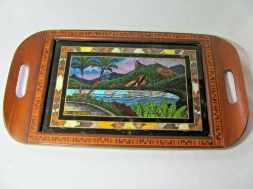 Vintage Butterfly Wing Tray Palm Trees Mountains Rio de Janeiro Inlaid Edges