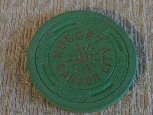 CARSON CITY NUGGET  hotel casino gaming poker chip ~ Green (N5625) 1957 ~ NV