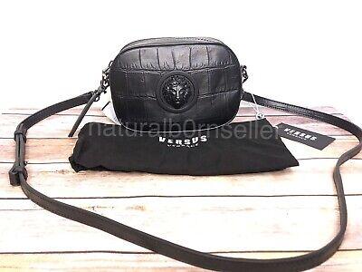 NWT Versace Versus Black Lion Head Croc Gun Metal Crossbody Purse Bag Authentic