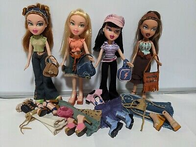 MGA Bratz lot - 4 Strut it dolls, 2003 set, Meygan Jade Yasmin Cloe w clothes
