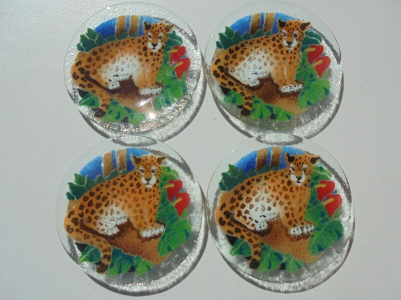 4 Scarce Peggy Karr Leopard Jungle Animal Snack Canape Plates 5 3/4""