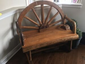 Antique Teak Wood Wagon Wheel Bench