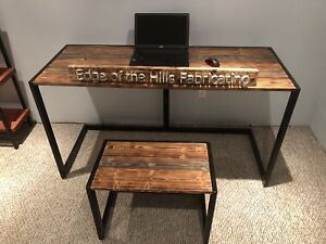 Modern rustic desk with matching bench