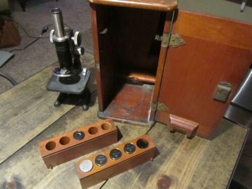 Vintage KREMP WETZLAR microscope Multiple Lenses High Quality Wood Case Original