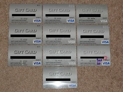 Lot Of 10 Empty Visa Debit Gift Credit Card Not Mastercard Amex Discover Cards