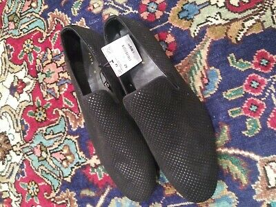 Zara Man Black Textured Dots Loafers Shoes Sz 9 REF:5658/302