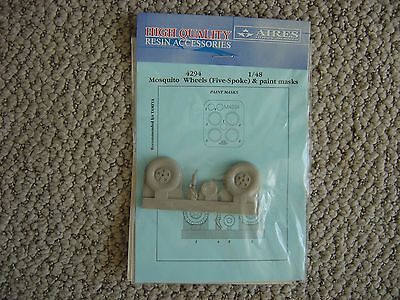 Aires 1/48 D.H.Mosquito main wheels 5 spoke and tail wheel tail wheel strut