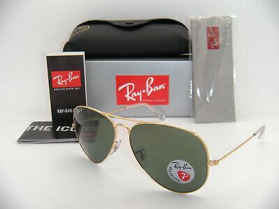 Authentic Ray-Ban  3025 AVIATOR GOLD GREEN POLARIZED  RB 3025 001/58 62mm  (Ray Ban Aviator Gold Green Polarized)