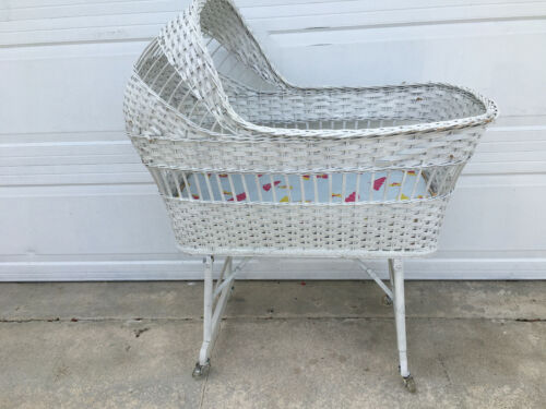 Vintage Mid Century White Wicker Rattan Baby Bassinet On Wheels