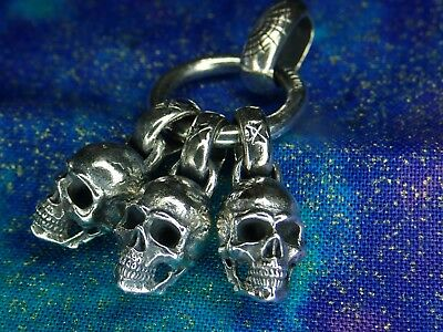 Heavy Solid Silver 925 Gothic Skull Ring Pendant After King Baby 20.3 Grams $395 - Baby Gothic