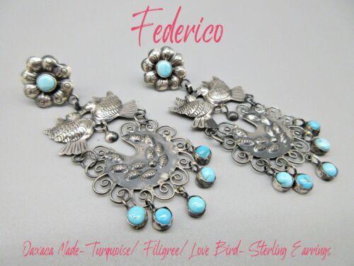 Federico Jimenez-Oaxaca-Amore Eterno-Love Bird Turquoise Filigree Earrings