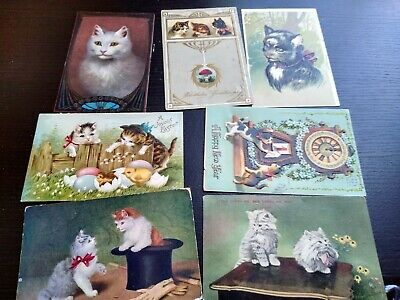 7 Cute Vintage White Cats Kittens in Top Hat Baby Chicks Clock Postcards