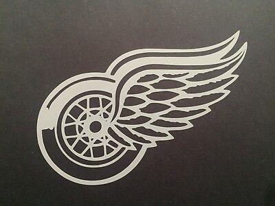 NHL DETROIT RED WINGS WHITE VINYL STICKER / - Nhl Red Wings