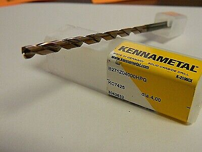 Kennametal 4mm 135 2-flute Solid Carbide Extra Length Drill Bit 3043632