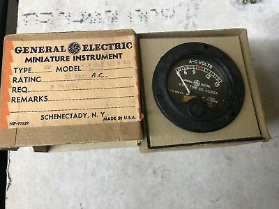 General Electric Minature Instrument A-c Volt Meter 15 Volts 41v By 28 N 46 T3