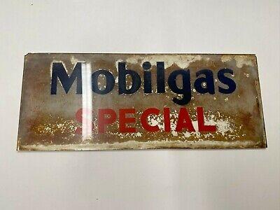 Vintage Rare 1940s Mobilgas Special Original Gas Pump Glass Advertising Panel