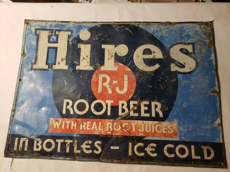 "Vintage Hires ROOT BEER 27x19""  Embossed Tin Advertising Sign"