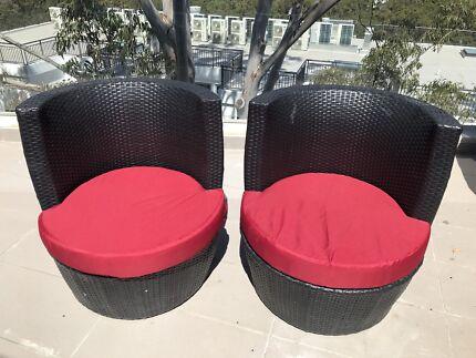 Black wicker outdoor seats x 2