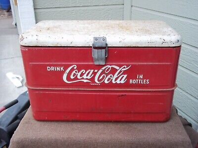 Vintage ( Drink Coca Cola In Bottles ) Coke Metal Ice Chest Drain Ice Pick NICE